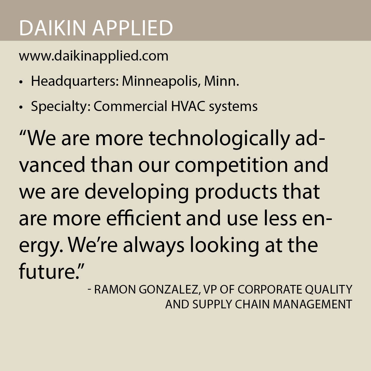 Daikin Applied fact box