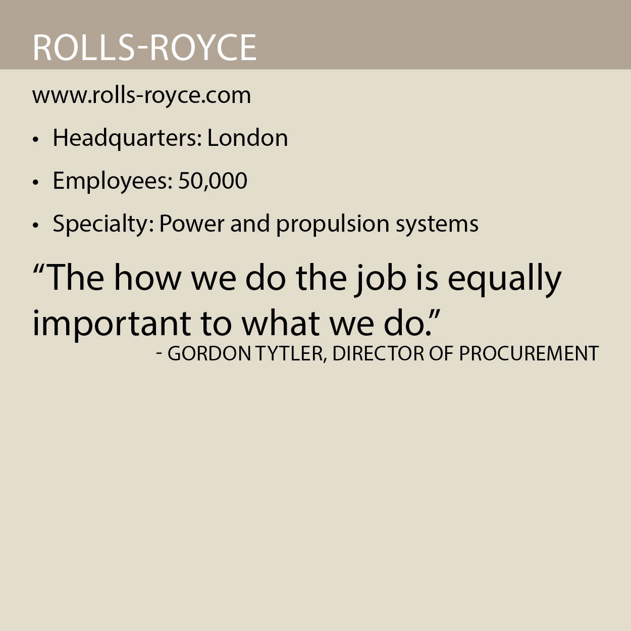 Rolls Royce fact box